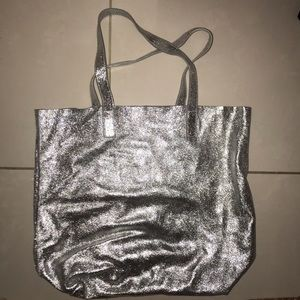 Urban outfitters silver glitter suede tote